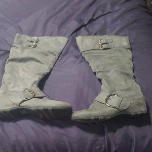 Gray Swede high calf boots